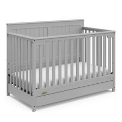 Graco Hadley 4 In 1 Convertible Crib With Bottom Drawer Pebble Gray