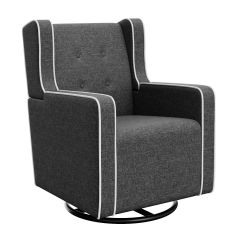 Graco Tufted Remi Upholstered Swivel Glider Horizon Gray and White Trim