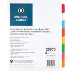 Business Source Write On Tab Indexes Sheets Multicolour Tabs 8 Pack