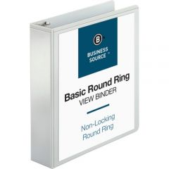 Business Source 2 Inch Ring View Binder 2 Inside Pockets White