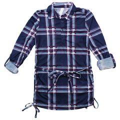 2 Dye 4 Button Front Long Sleeve Shirt Plaid