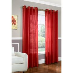Home Essentials Faux Silk Window Panels 2Pk Red