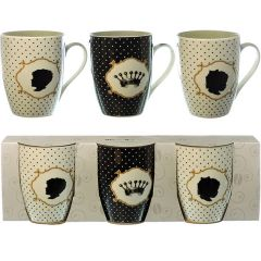 Black and White Polka Dot Mugs Set of 3