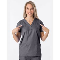 Green Town Classix Collection Unisex Scrub Top Steel Grey