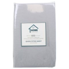 Home Essentials 400 TC Cotton Fitted Sheet Queen Grey