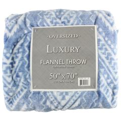Oversized Luxury Flannel Throw 50 X 70 Inches, Chevron Blue