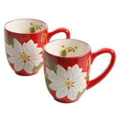 Poinsettia Hand Painted Mug 14 oz