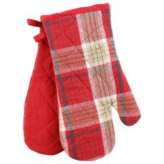 Oven Mitts Pair Plaid Red