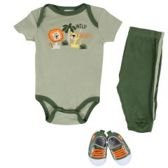 Baby Mode Bodysuit, Pants & Shoes 3 Piece Set