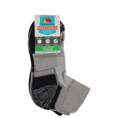 Boys 3 Pack Breathable Fruit of the LOOM Ankle Sock Grey 9-11