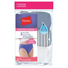 Hanes Hi Cut Cotton Panties 3Pk Assorted