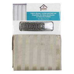 Home Essentials Fabric Shower Curtain and Hook Set