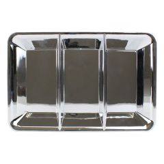 Plastic Silver Tray/Plate w/3 Sections