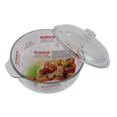 Ikoo Glass Round Casserole Dish with Lid 2L