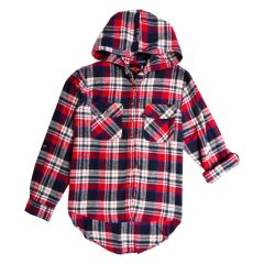 Hooded Flannel Button Front Plus Size Shirt