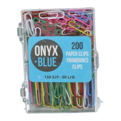 Onyx + Blue Multi Colour Paper Clips 200Pk