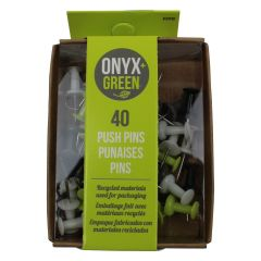 Onyx + Green Push Pins 40Pk