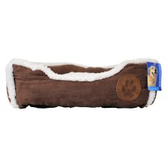 Suede Sherpa Lined Pet Bed Brown