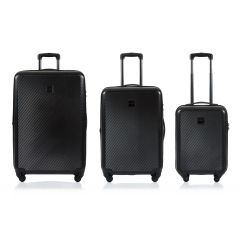 Champs Iconic Collection 3 Piece Hard Side Luggage Black