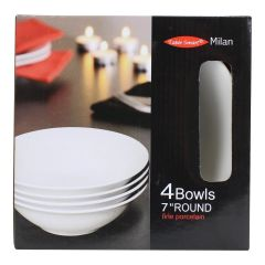 Milan Bowl 7 Inch 4 Pack White