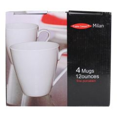 Milan Mug 12 Oz 4 Pack White