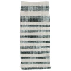 Linencorp Canada Waffle Tea Towel With Green Stripe