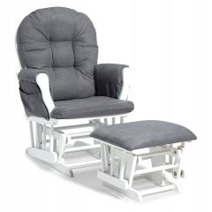 Storkcraft Hoop Glider and Ottoman White Wood And Gray Cushion