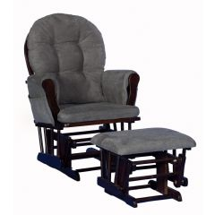 Storkcraft Hoop Glider and Ottoman Espresso Wood And Gray Cushion