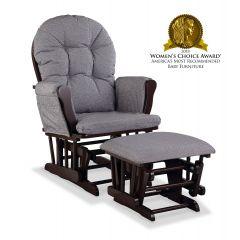 Storkcraft Hoop Glider and Ottoman Espresso Wood And Slate Gray Swirl Cushion
