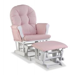 Storkcraft Hoop Glider and Ottoman White Wood And Pink Cushion