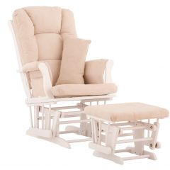 Storkcraft Tuscany Glider and Ottoman White Wood And Beige Cushion