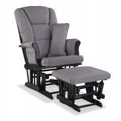Storkcraft Tuscany Glider and Ottoman Black Wood And Slate Gray Swirl Cushion