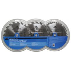 Task Tools 3 Piece 7-1/4 inch ATB Circular Saw Blade Set