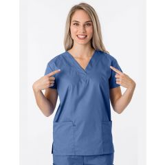 Green Town Classix Collection Unisex Scrub Top Postman Blue
