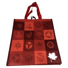Reusable Shopping Tote Patchwork Red