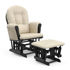 Storkcraft Hoop Glider and Ottoman Black Wood And Beige Cushion