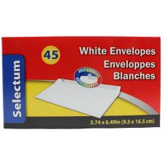 Selectum White Envelopes 9.5 X 16.5 cm 45 Pk