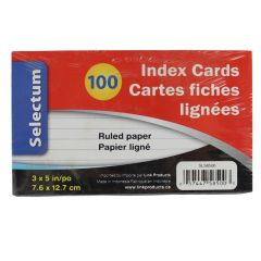 Selectum Index Cards Ruled 3 X 5 In. 100 Pk