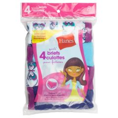 Hanes Girls Tagless Briefs Size 8 4Pk Assorted