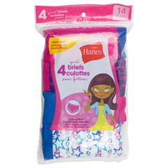 Hanes Girls Tagless Briefs Size 14 4Pk Assorted