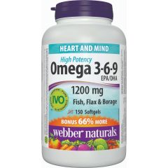 Webber Naturals High Potency Omega 3-6-9, 1200 mg - Heart and MInd