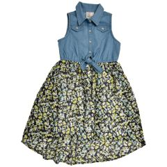 West Coast Connection Girls Dress Denim And Floral Print 2-6X