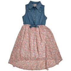 West Coast Connection Girls Dress Denim And Floral Print 7 - 14