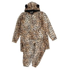 Women's Plush Leopard Onesie Brown