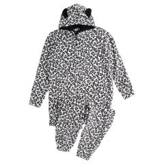 Women's Plush Leopard Onesie Black
