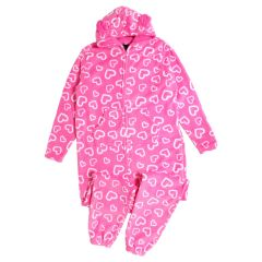 Women's Plush Onesie Pink Hearts