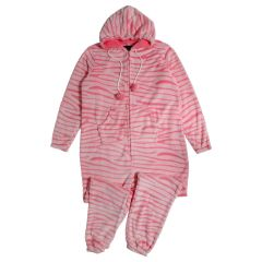 Women's Plush Tiger Stripe Pom Pom Onesie Pink