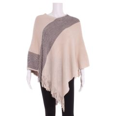Guilty Knitwear V-Neck Poncho with Fringe Tan