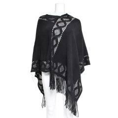 Sheer Panel Poncho with Fringe Black