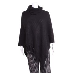 Fringed Knit Poncho with Removable Cowl Neck Black